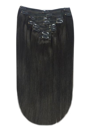 Full Head Remy Clip in Human Hair Extensions - Off/Natural Black (#1B)