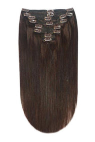 Full Head Remy Clip in Human Hair Extensions - Dark Brown (#3)