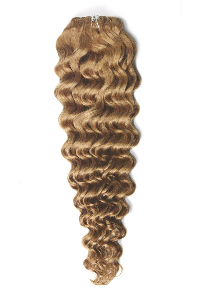 Curly Full Head Remy Clip in Human Hair Extensions - Strawberry/Ginger Blonde (#27)