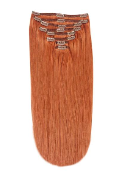 Full Head Remy Clip in Human Hair Extensions - Ginger Red/Natural Red (#350)