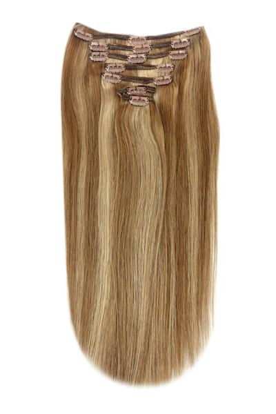 Full Head Remy Clip in Human Hair Extensions - Light Brown/ Ginger Blonde Mix (#6/27) Full Head Set cliphair