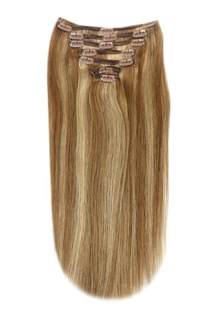 Full Head Remy Clip in Human Hair Extensions - Light Brown/ Ginger Blonde Mix (#6/27)