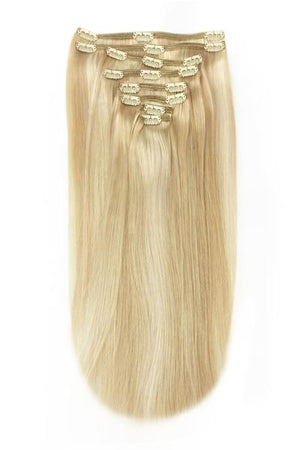 Full Head Remy Clip in Human Hair Extensions - Golden Blonde/Bleach Blonde Mix (#16/613)