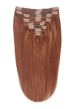 Full Head Remy Clip in Human Hair Extensions - Dark Auburn/Copper Red (#33)