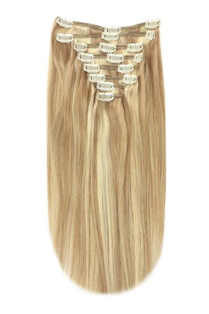 Full Head Remy Clip in Human Hair Extensions - Dark Blonde/Ash Blonde Mix (#14/22)