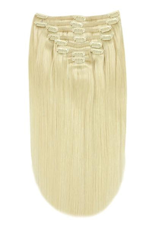 Full Head Remy Clip in Human Hair Extensions - Lightest Blonde (#60)