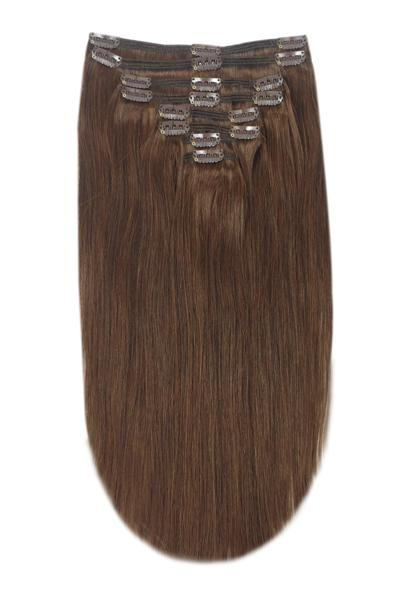 Full Head Remy Clip in Human Hair Extensions - Medium Brown (#4)