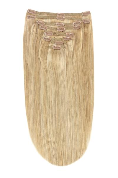 Full Head Remy Clip in Human Hair Extensions - Medium Golden Brown/Golden Blonde Mix (#10/16))