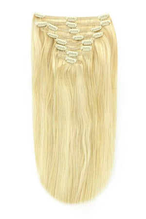 Full Head Remy Clip in Human Hair Extensions - Ash Blonde/Bleach Blonde Mix (#22/613)