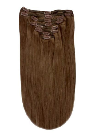 Full Head Remy Clip in Human Hair Extensions - Mousey Brown (#6B)