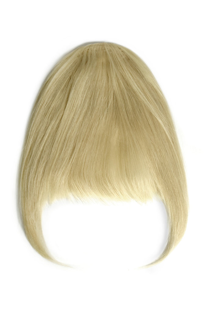 human hair fringe clip in light ash blonde