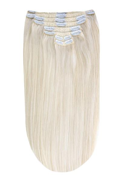 Full Head Remy Clip in Human Hair Extensions - Ice Blonde