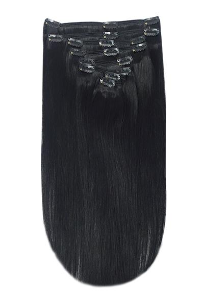 Full Head Remy Clip in Human Hair Extensions - Jet Black (#1)