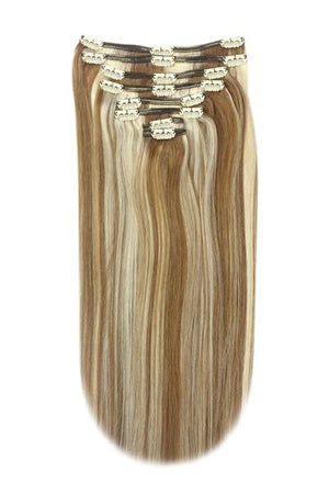 Full Head Remy Clip in Human Hair Extensions - Light Brown/Bleach Blonde Mix (#6/613)