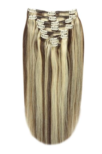 Full Head Remy Clip in Human Hair Extensions - Medium Brown/Bleach Blonde Mix (#4/613)