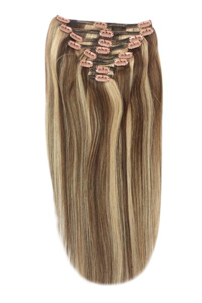 Full Head Remy Clip in Human Hair Extensions - Medium Brown/Strawberry Blonde Mix (#4/27)