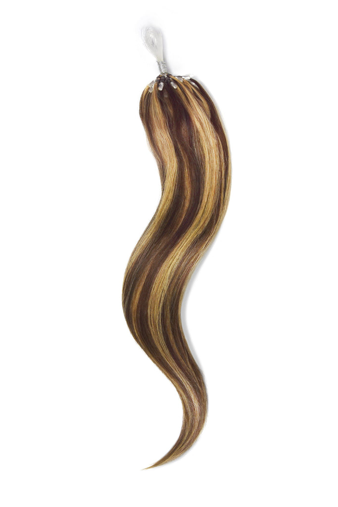 Micro Ring Loop Remy Human Hair Extensions - Medium Brown/Strawberry Blonde Mix (#4/27)