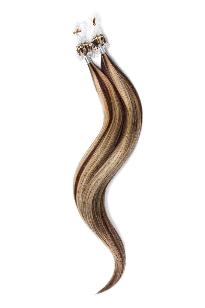 Micro Ring Loop Remy Human Hair Extensions - Medium Brown/Bleach Blonde Mix (#4/613) Micro Ring Hair Extensions cliphair