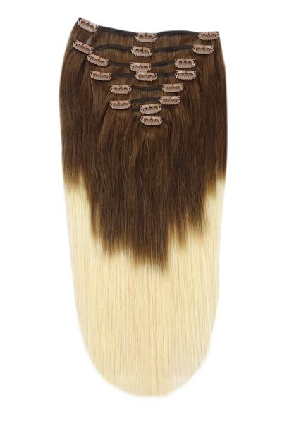 Full Head Remy Clip in Human Hair Extensions - ombre/Ombre (#T4/613)