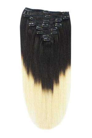 Full Head Remy Clip in Human Hair Extensions - ombre/Ombre (#T1B/#60)