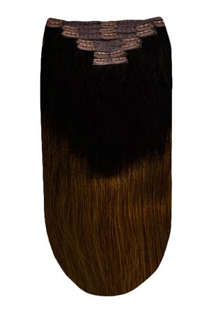 Full Head Remy Clip in Human Hair Extensions - Ombre (#T2/6)