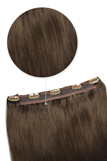one piece clip in hair extensions quad weft medium brown