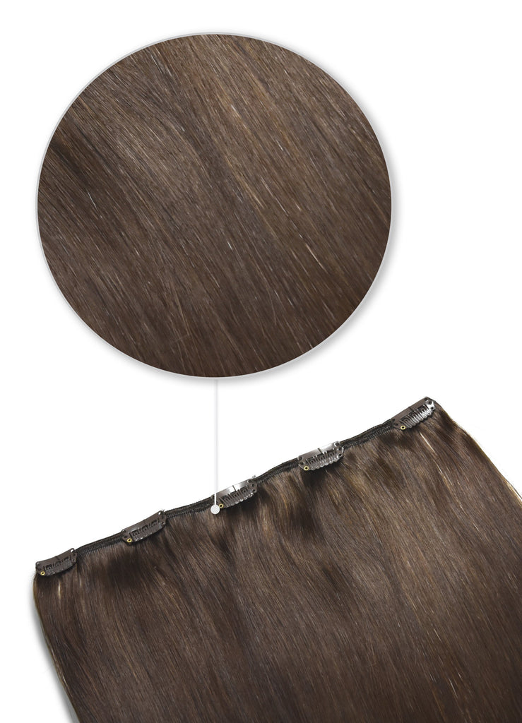 One Piece Top-up Remy Clip in Human Hair Extensions - Medium Brown (#4) One Piece Clip In Hair Extensions cliphair