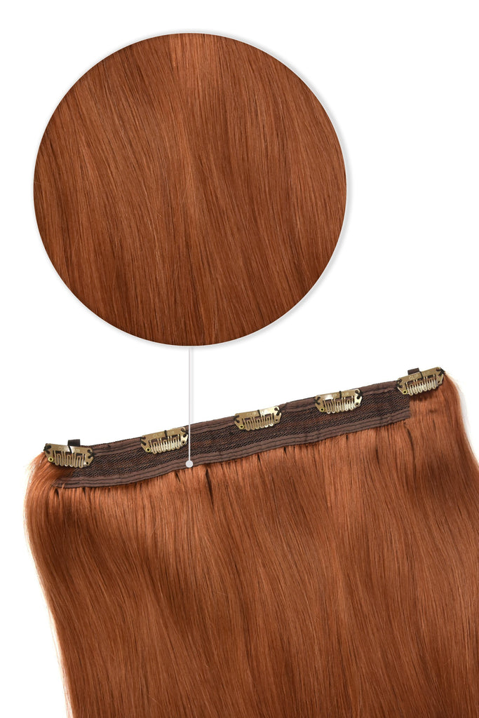 Quad Wefted Remy Clip in Human Hair Extensions - Ginger / Natural Red #350