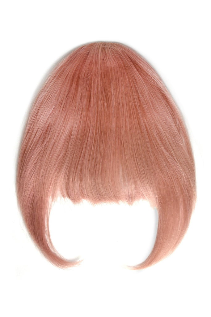 Pink clip in fringe human hair