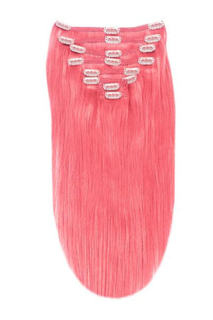 Full Head Remy Clip in Human Hair Extensions - Pink