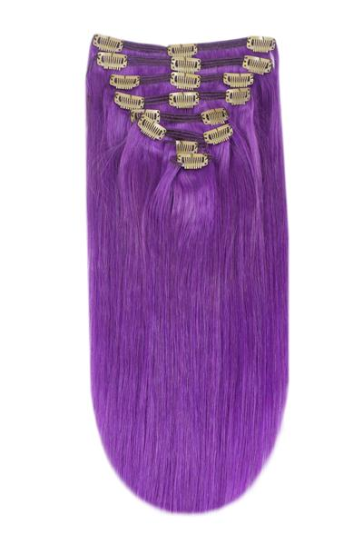 clip in hair extensions vibrant purple remy human hair