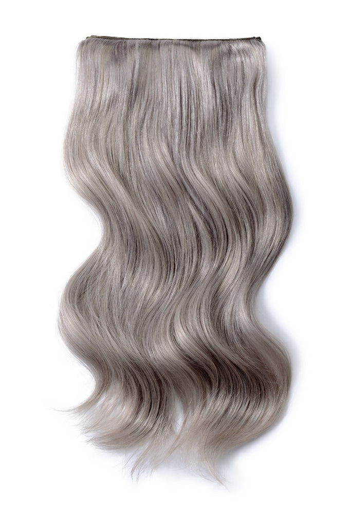 Double Wefted Full Head Remy Clip in Human Hair Extensions - Silver/Grey Hair (#SG)