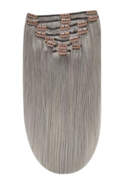 Silver grey human hair extensions clip in