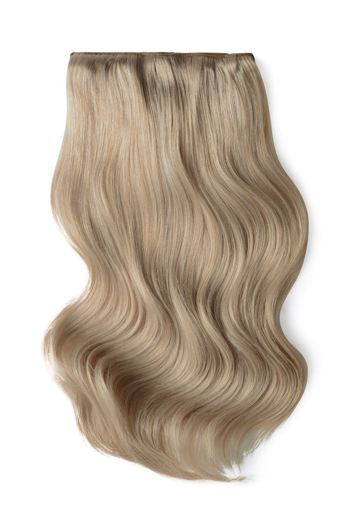 Double Wefted Full Head Remy Clip in Human Hair Extensions - Silver Sand (#SS)