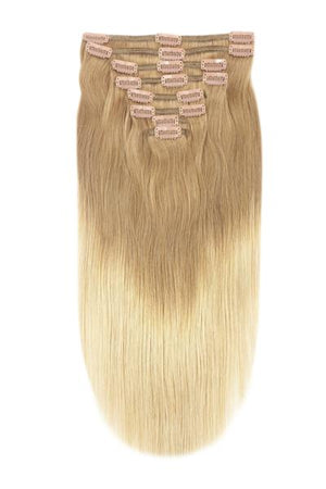 Full Head Remy Clip in Human Hair Extensions - ombre/Ombre (#T18/613)