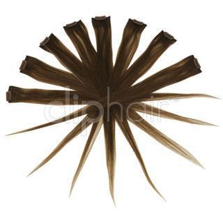 Remy Clip in Human Hair Extensions Highlights / Streaks - Toffee Brown (#5)