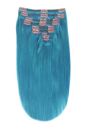 Full Head Remy Clip in Human Hair Extensions - Turquoise