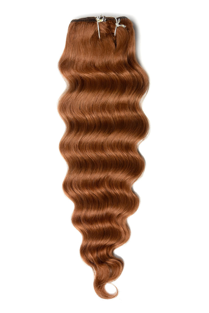 Wavy Full Head Remy Clip in Human Hair Extensions - Ginger Red/Natural Red (#350)