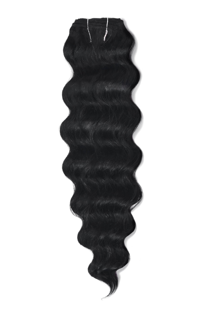 Wavy Full Head Remy Clip in Human Hair Extensions - Jet Black (#1)