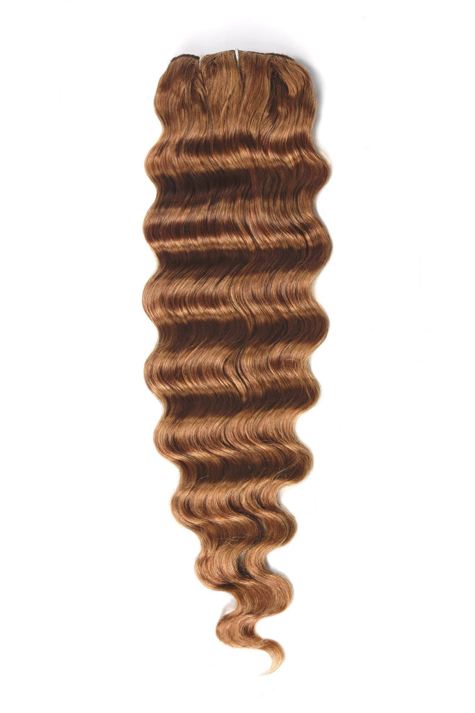 Wavy Full Head Remy Clip in Human Hair Extensions - Light Auburn (#30)