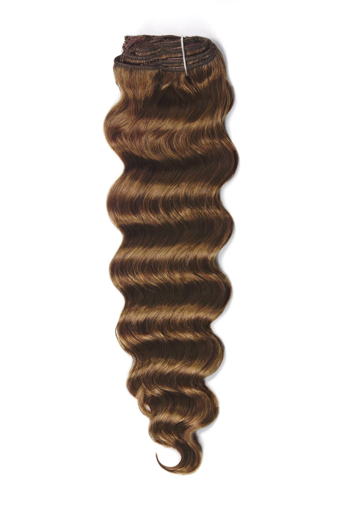 Wavy Full Head Remy Clip in Human Hair Extensions - Light/Chestnut Brown (#6)