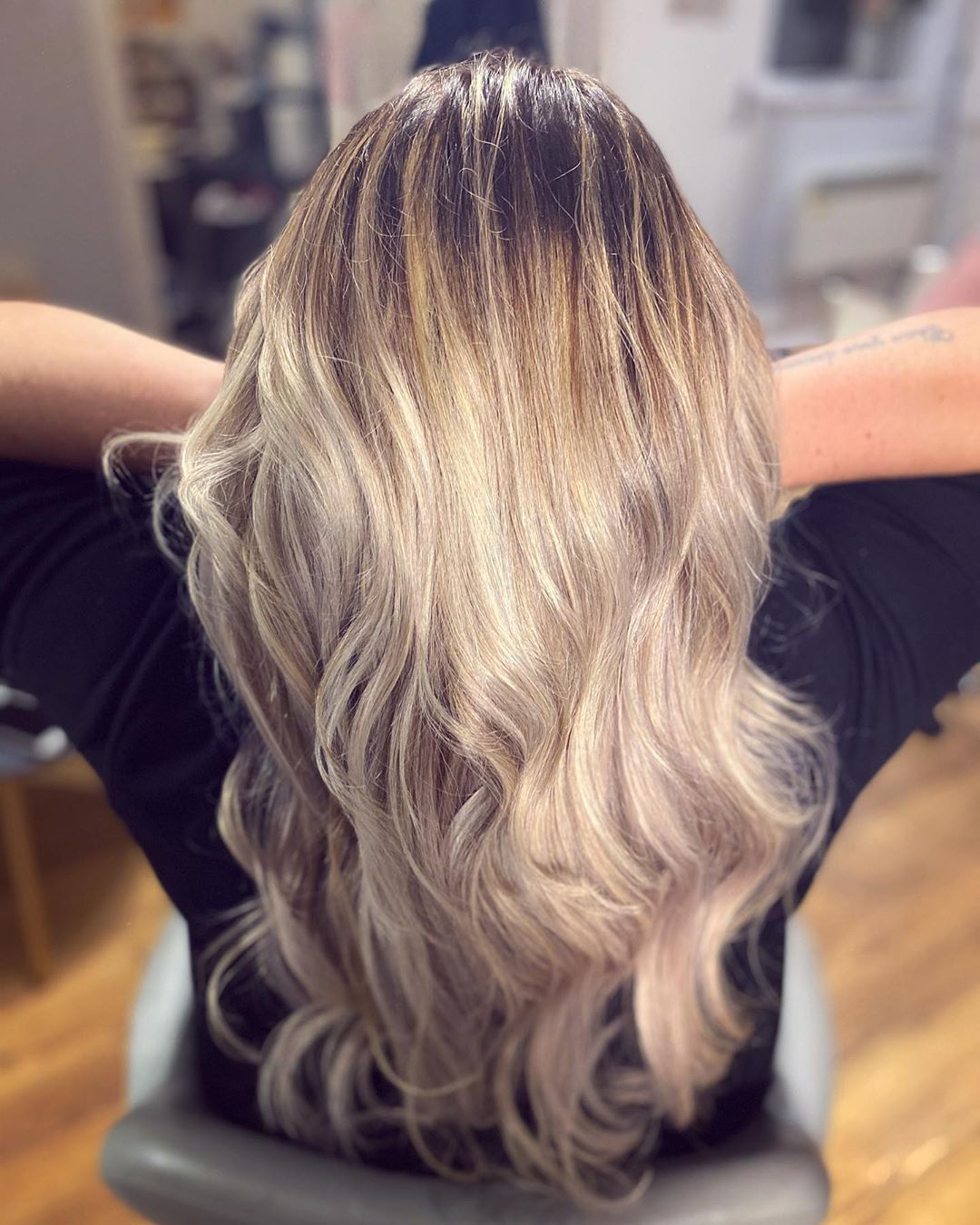 ash blonde highlights double weft hair extensions