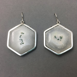 HEXAGONAL SOLAR QUARTZ EARRINGS