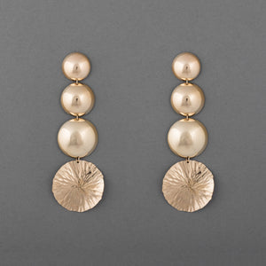 DISC & LOTUS BLOOM STATEMENT EARRING