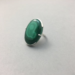 MALACHITE & SILVER STATEMENT RING