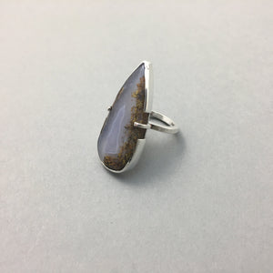 TEARDROP AGATE & SILVER STATEMENT RING