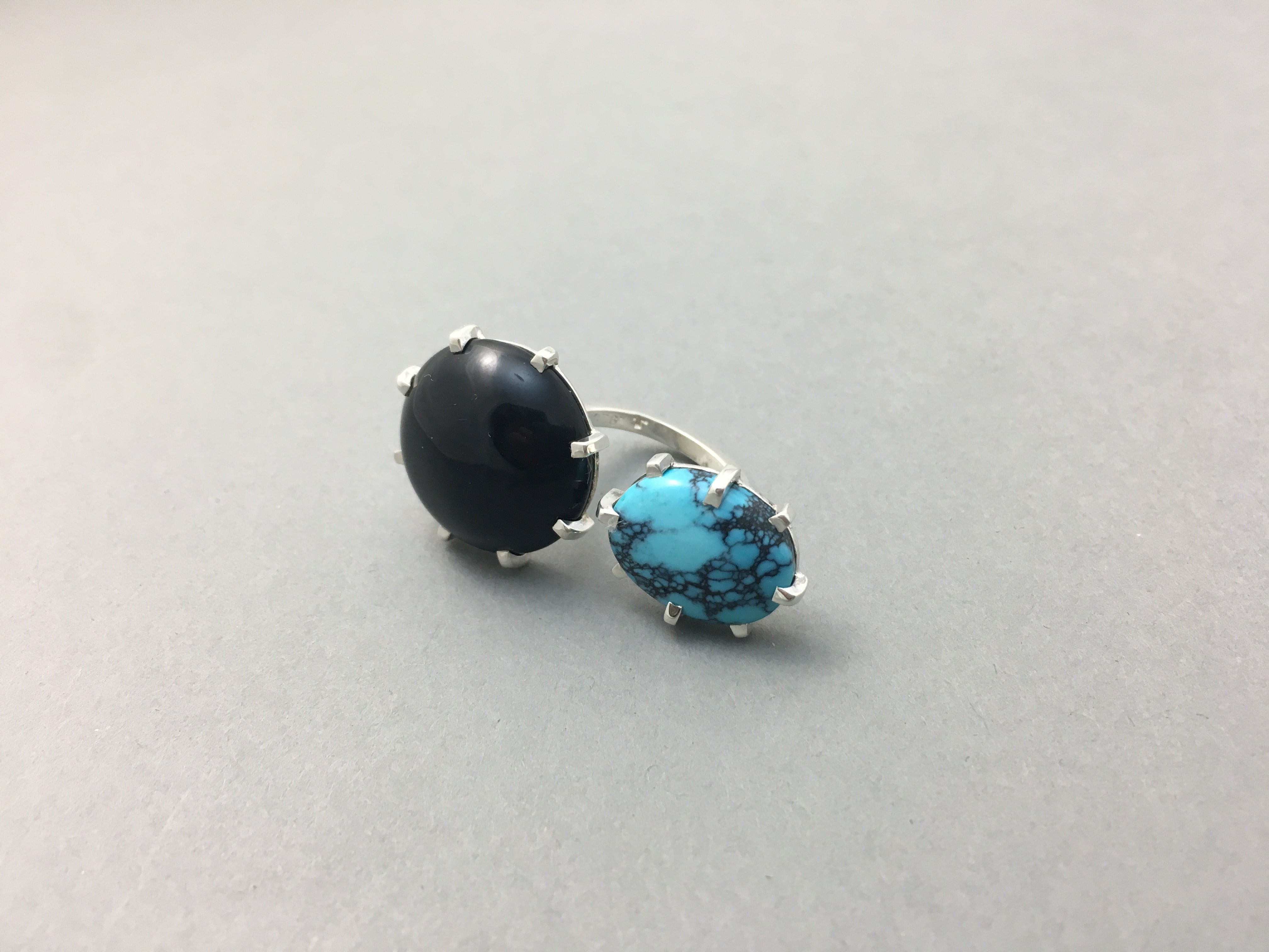 TURQUOISE & ONYX TWO-FINGER SILVER RING