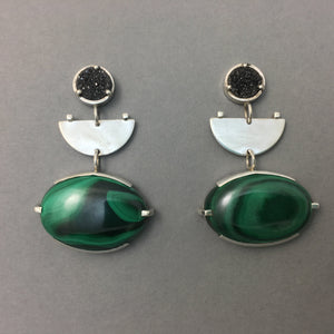 MALACHITE & BLACK DRUZY DROP EARRINGS