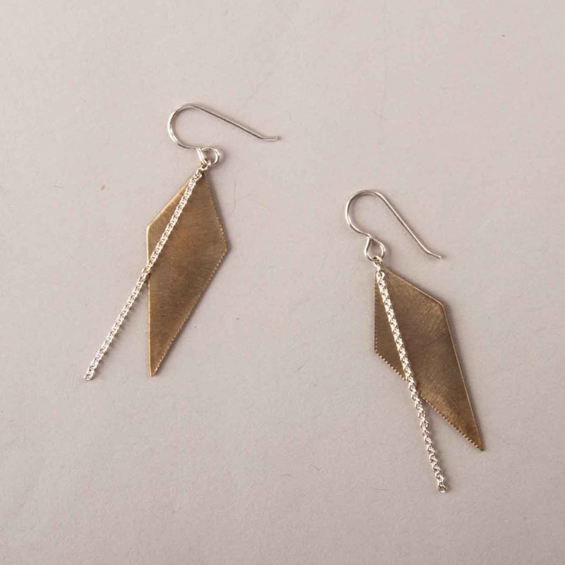 GOLD-FILL SPIKE EARRINGS WITH SILVER CHAIN
