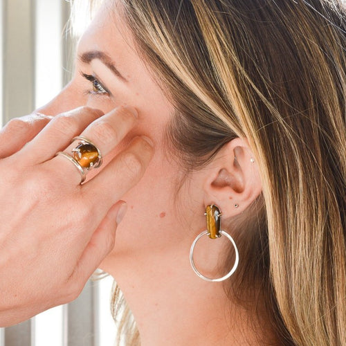 TIGERS EYE DOORKNOCKER EARRINGS
